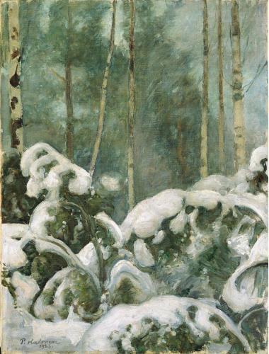 Pekka-Halonen Talvipaiva-metsassa